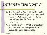 interview tips cont d