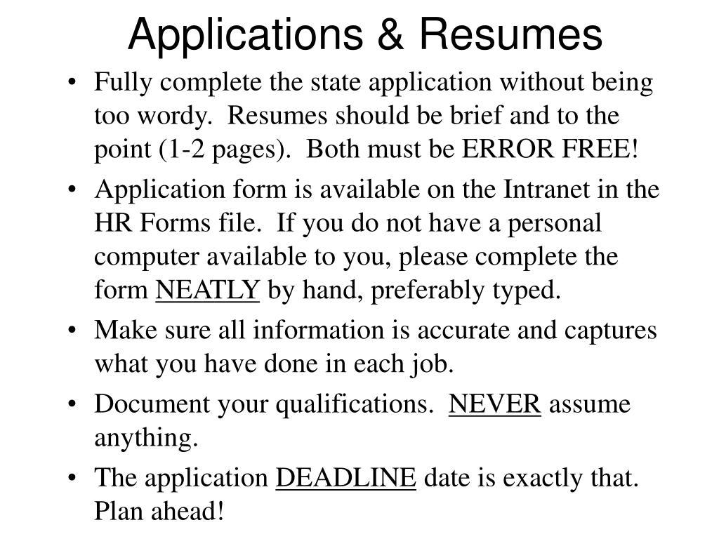 Applications & Resumes