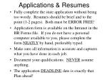 applications resumes