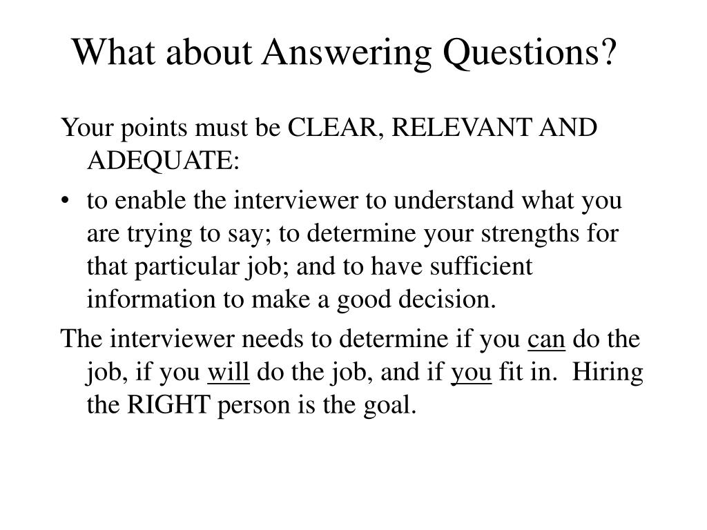 What about Answering Questions?