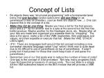 concept of lists