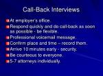 call back interviews