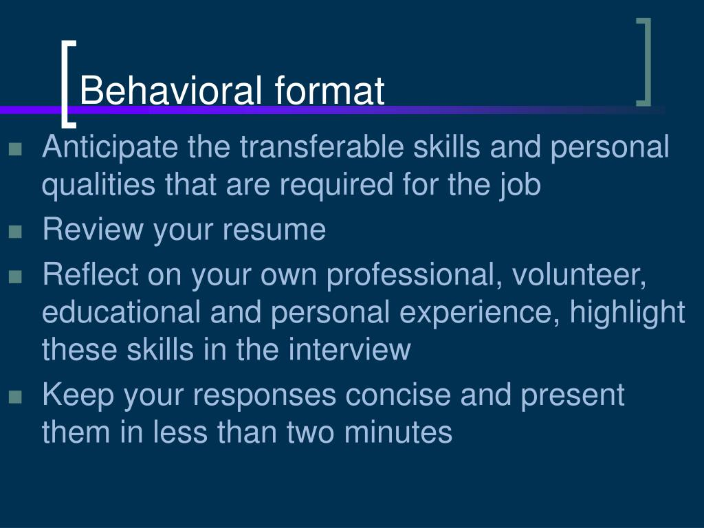 Behavioral format