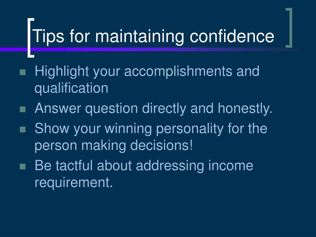 Tips for maintaining confidence