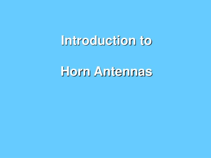 introduction to horn antennas n.