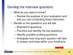 develop the interview questions