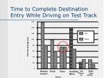 time to complete destination entry while driving on test track