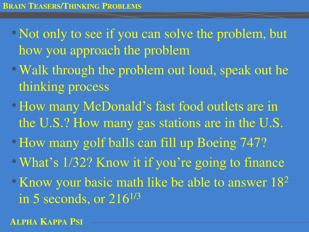 Brain Teasers/Thinking Problems
