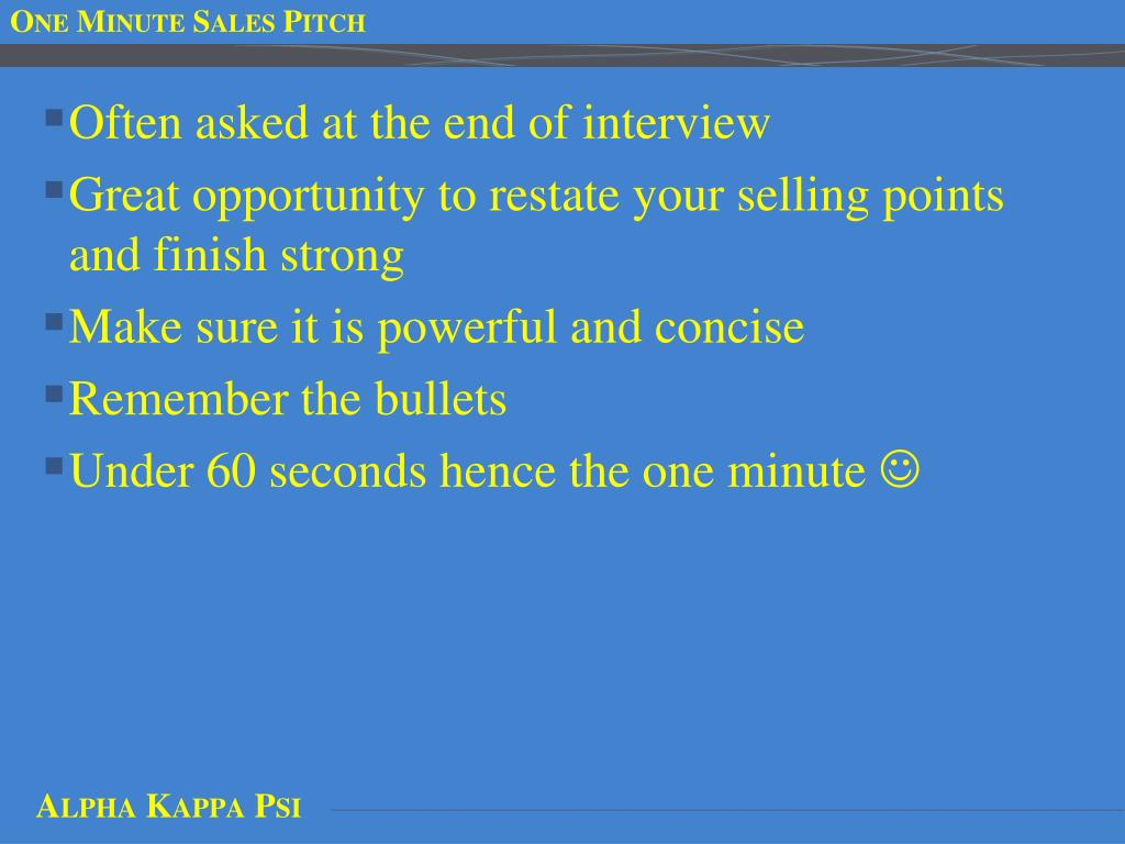 One Minute Sales Pitch