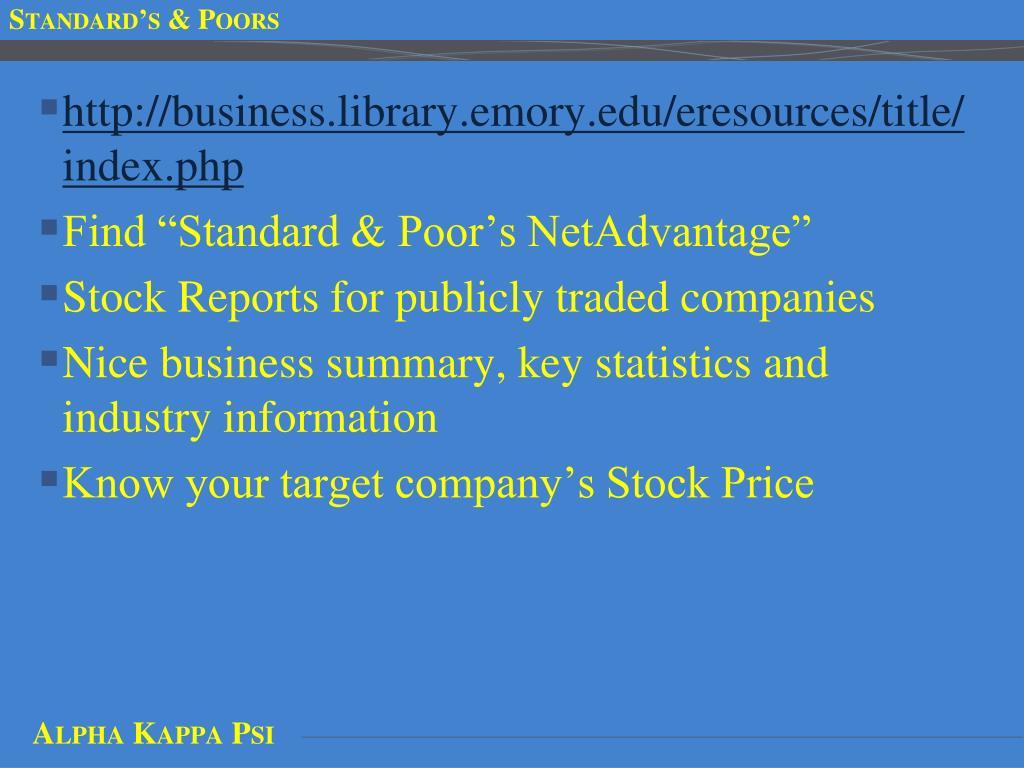 Standard's & Poors