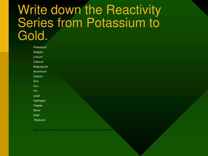 write down the reactivity series from potassium to gold n.