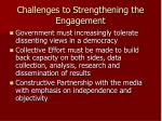 challenges to strengthening the engagement