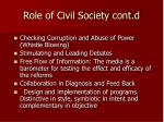 role of civil society cont d