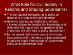 what role for civil society in reforms and shaping governance