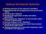 national secretaries activities