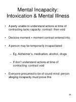 mental incapacity intoxication mental illness