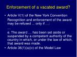 enforcement of a vacated award