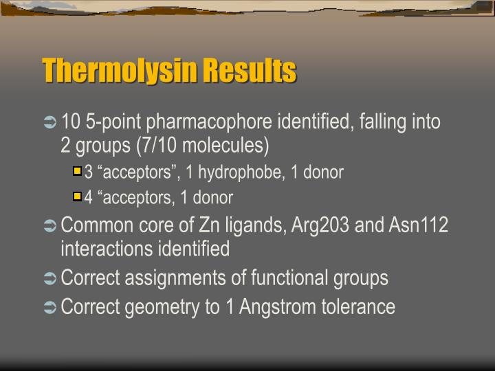 Thermolysin Results