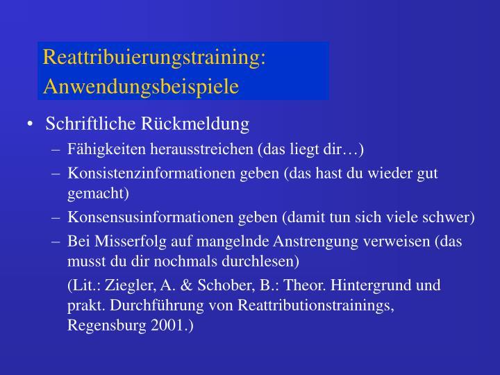 Reattribuierungstraining: Anwendungsbeispiele