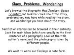 clues problems wonderings