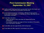 first commission meeting september 10 2007