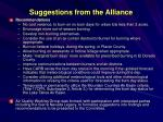 suggestions from the alliance