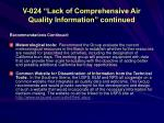 v 024 lack of comprehensive air quality information continued