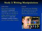 study 3 writing manipulations