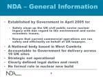 nda general information