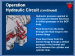 operation hydraulic circuit continued