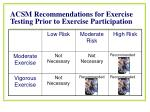 acsm recommendations for exercise testing prior to exercise participation2