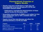 pharmacokinetic properties of organic nitrates