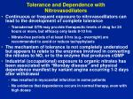 tolerance and dependence with nitrovasodilators