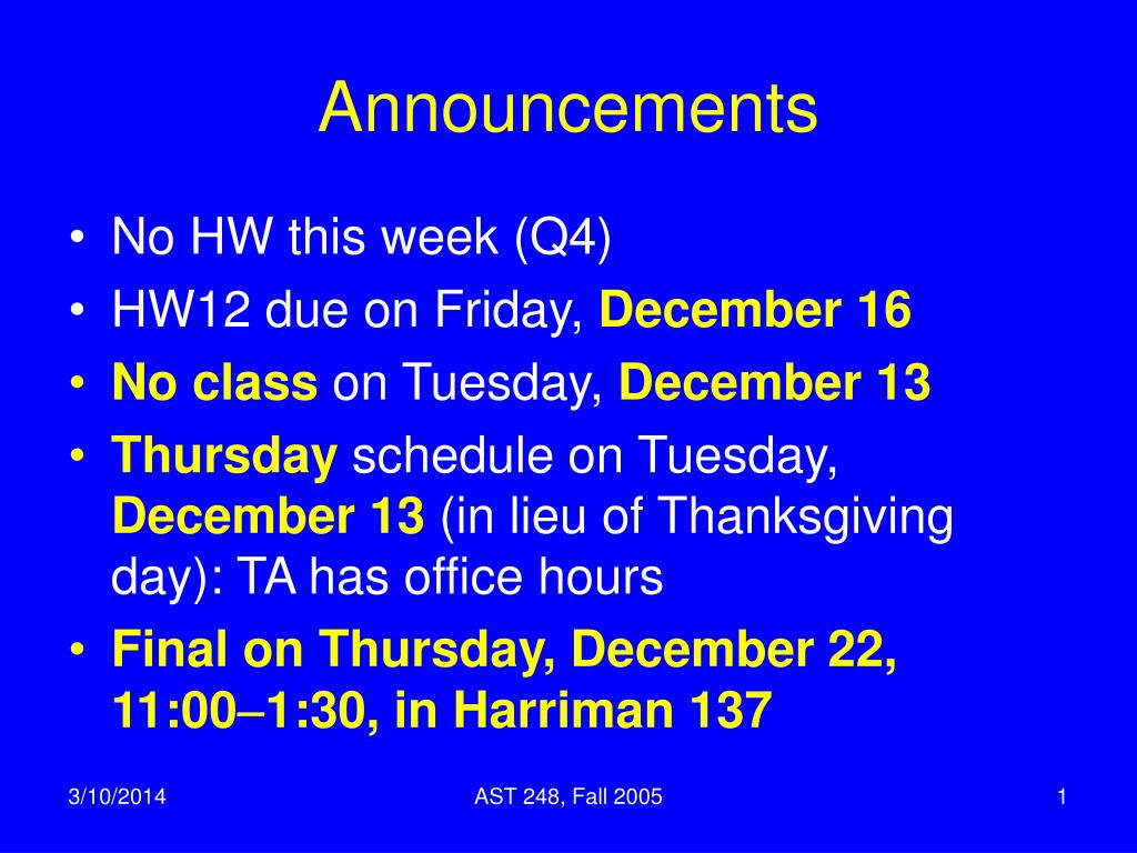 announcements l.