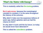 what s the matter with energy18