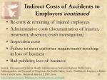 indirect costs of accidents to employers continued