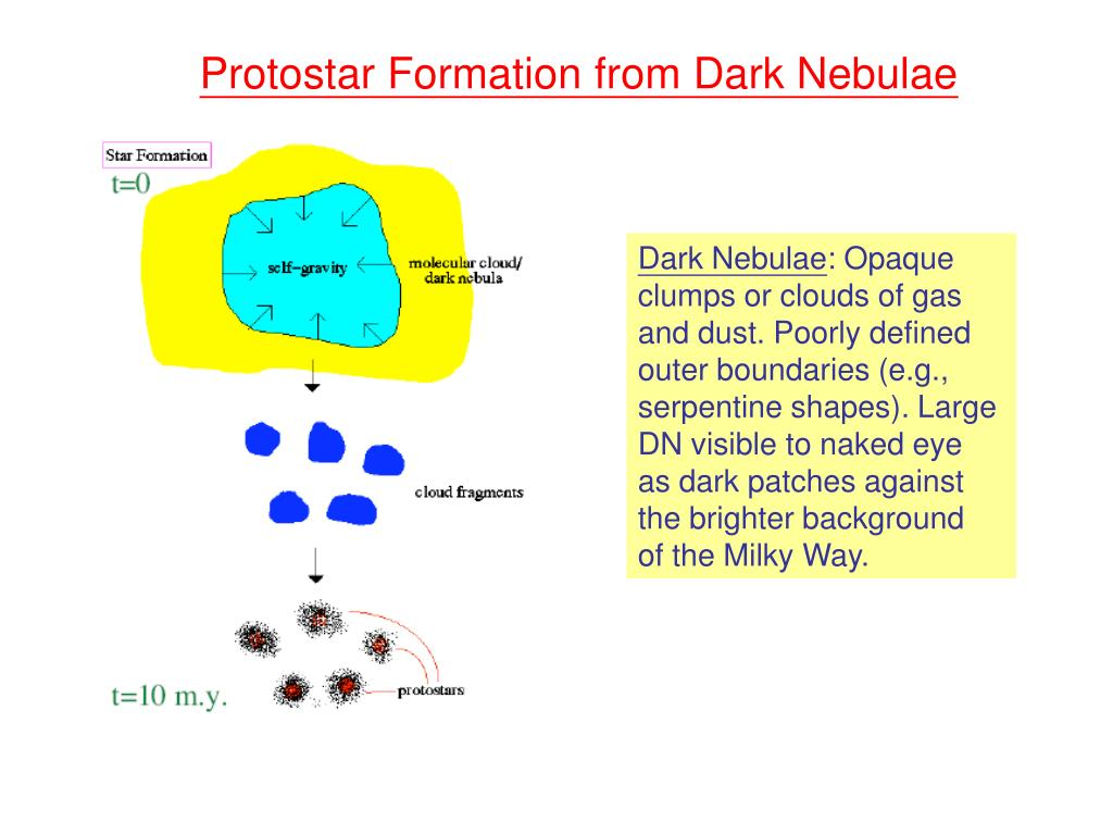 Protostar Formation from Dark Nebulae