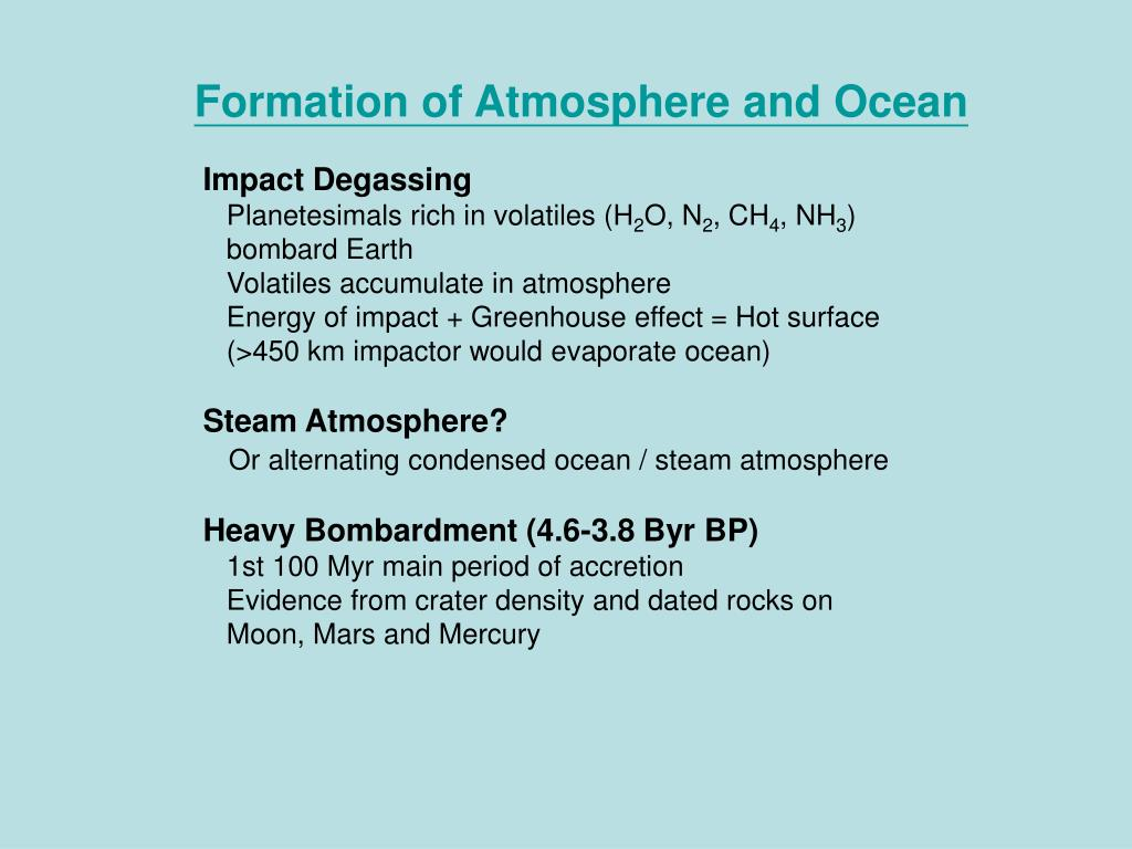 Formation of Atmosphere and Ocean