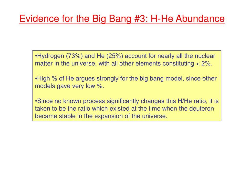 Evidence for the Big Bang #3: H-He Abundance