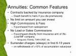 annuities common features