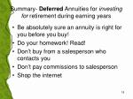 summary deferred annuities for investing for retirement during earning years