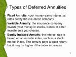 types of deferred annuities