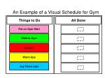 an example of a visual schedule for gym