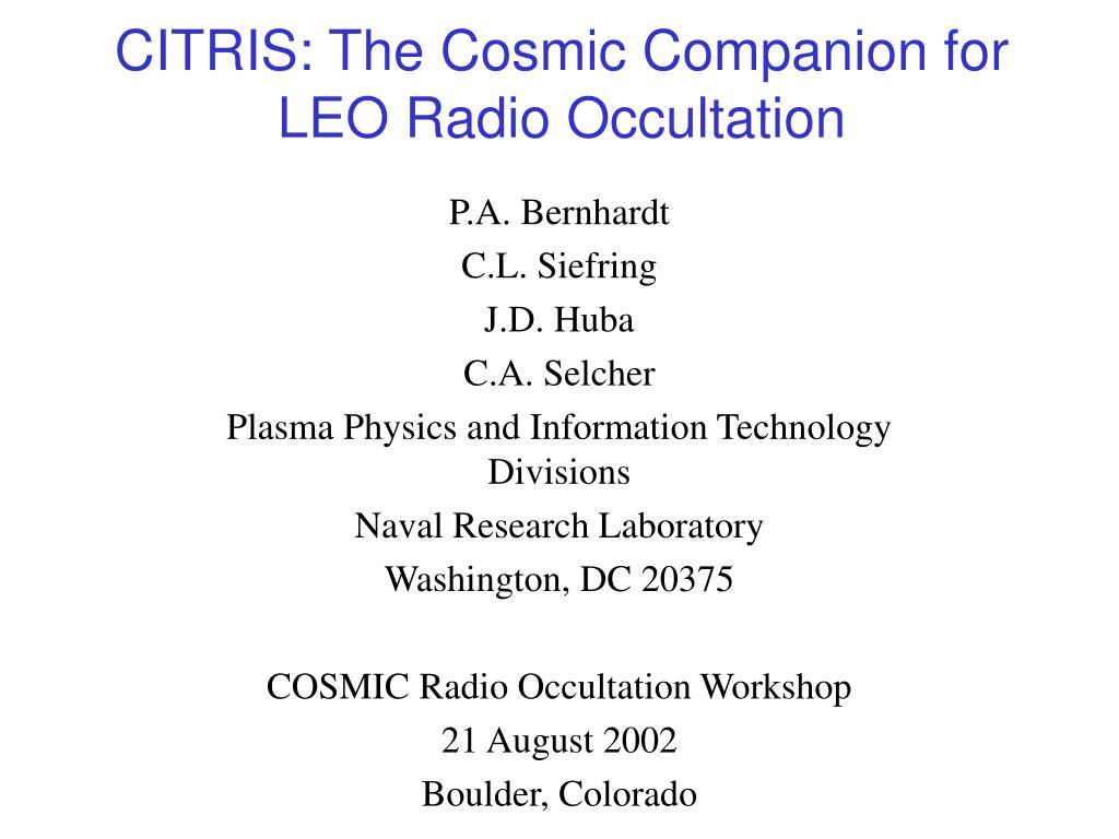 citris the cosmic companion for leo radio occultation l.