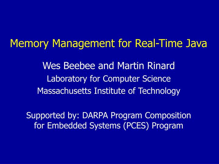 memory management for real time java n.