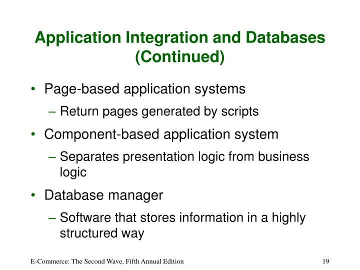 Application Integration and Databases (Continued)