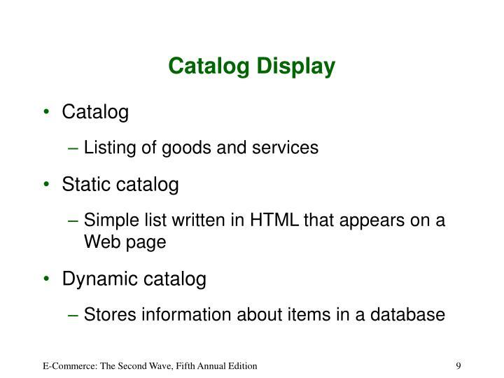 Catalog Display