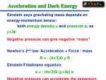 acceleration and dark energy
