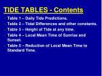 tide tables contents