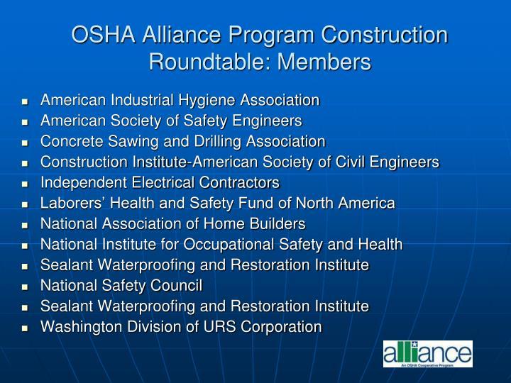 OSHA Alliance Program Construction